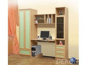 """Детская стенка со шкафом, компьютерным столом, выдвижными ящиками и полками  """"Бэмби"""""""