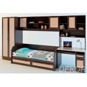 """Детская стенка со спальным местом, платяным шкафом и компьютерным столом с антресолью  """"Белоснежка ВМ"""""""