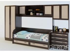 """Детская стенка со шкафом, антресолью и комодом с 4 выдвижными ящиками """"Белоснежка-5 ВМ"""""""