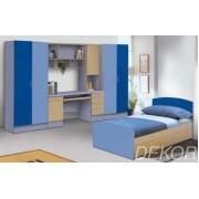 """Детская стенка с кроватью, двумя распашными шкафами, столом с выдвижными ящиками и антресолью  """"Гармония-2"""""""