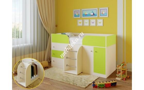 """Детская кровать """"Мальвина"""" с выдвижной платяной секцией"""