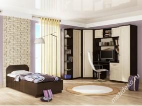 """Детская стенка с кроватью, угловым комбинированным шкафом, столом с надстройкой и 2 колонками для белья """"Мишель-1"""""""