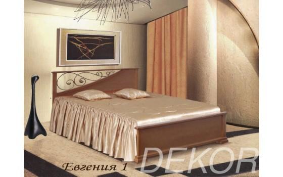 """Кровать из массива натурального дерева с 1 спинкой с кованой вставкой """"Евгения-1"""""""