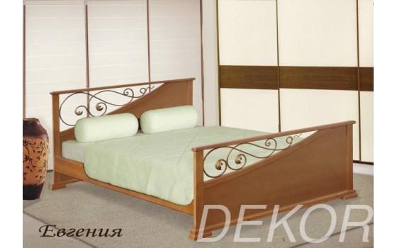 """Кровать из натурального дерева с 2 спинками и коваными вставками """"Евгения"""""""