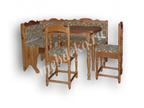 """Мягкий кухонный уголок из массива дерева с 2 стульями и столом  """"Лаура"""""""