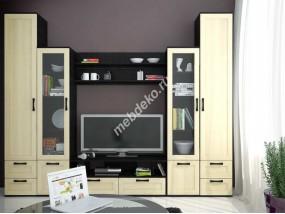 """Комплект мебели в гостиную комнату из качественного лдсп с рамкой и стеклянными вставками """"Фламия-5"""""""